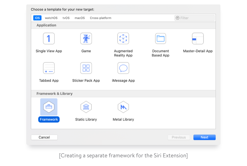 creating a separate framework for the siri extension
