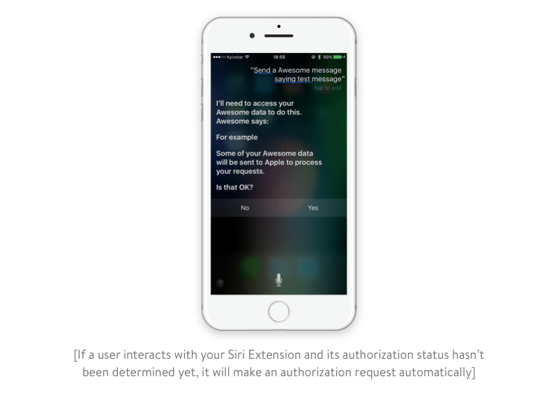 requesting authorization automatically siri extension