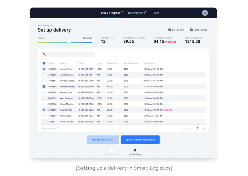 Setting up a delivery in Smart logistics