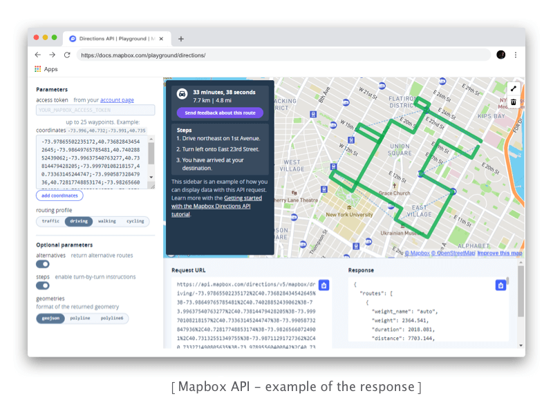 Mapbox Directions API - example of response