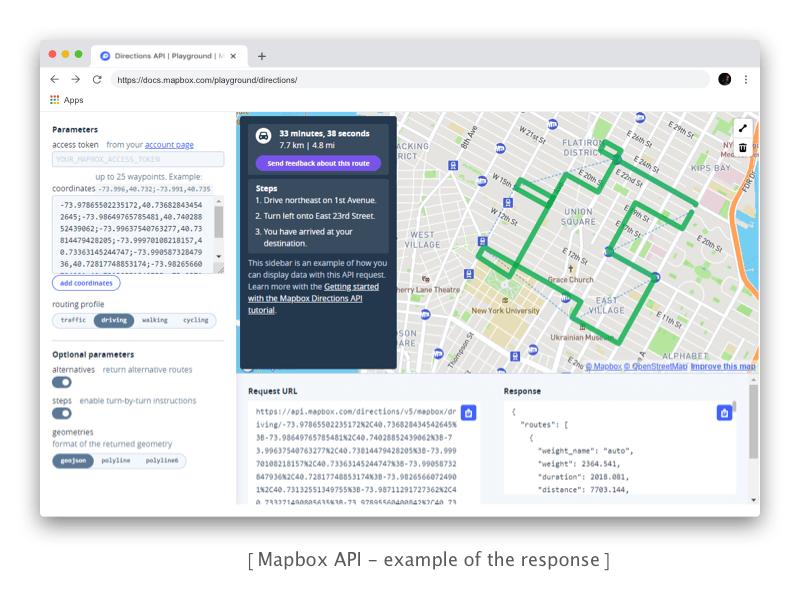 Mapbox Directions API - example of response