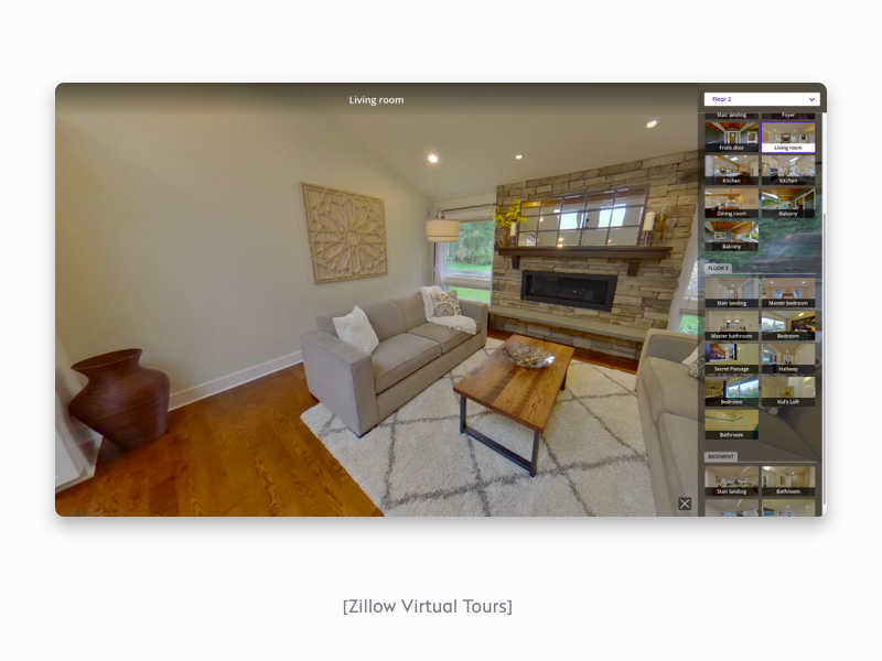 Virtual tours on Zillow