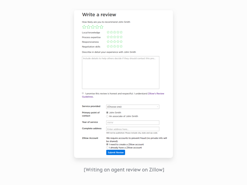 Writing an agent review on Zillow