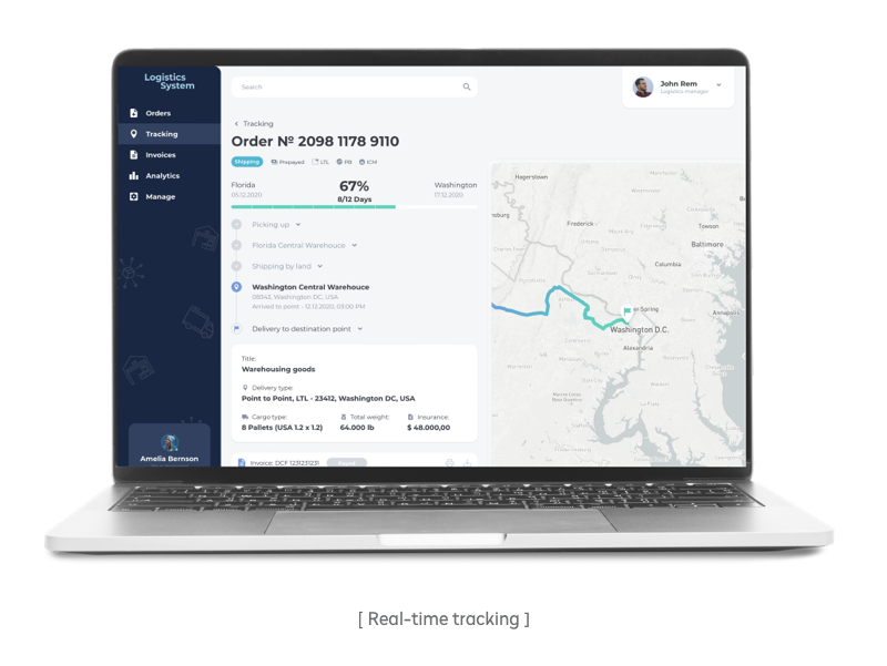 Real-time tracking in the customer portal we've developed