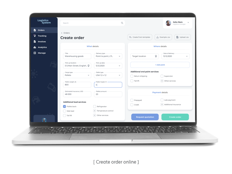 Order creation in the customer portal