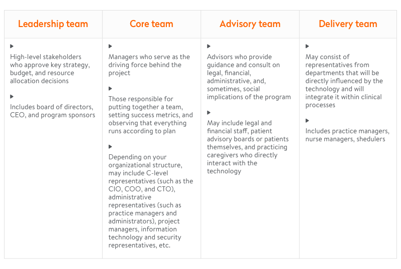Telehealth solution integration guide: team structure