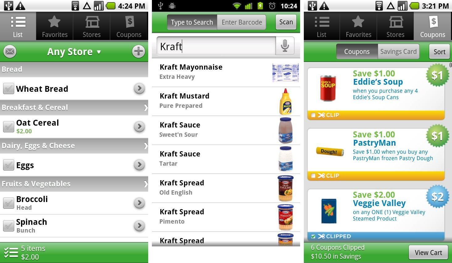 Grocery coupons for shopping list apps