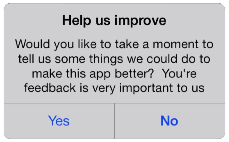 user feedback pop-up
